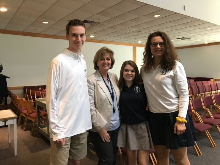 Assistant Principal Liz Manno with three SMS Alumni attending Immaculate High School